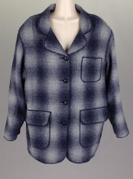 Blue Plaid Traditional Coat, Size: Large