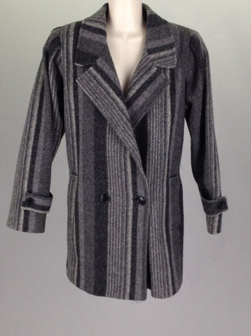 Gray Striped Double Breasted Coat, Size: 6 R
