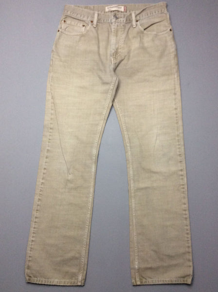 Beige Plain Colored Straight Leg Jeans, Size: 33.0