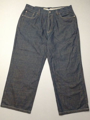 Blue Plain Dark Baggy Jeans, Size: 38.0