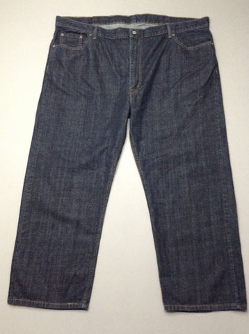Blue Plain Dark Regular Jeans, Size: 48/30 R