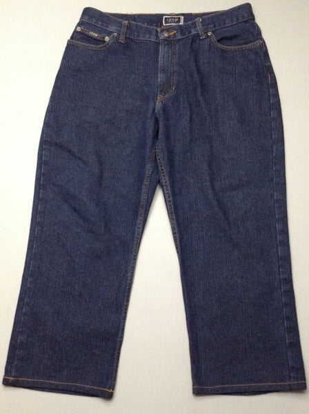 Blue Plain Dark Regular Jeans, Size: 36/30 R