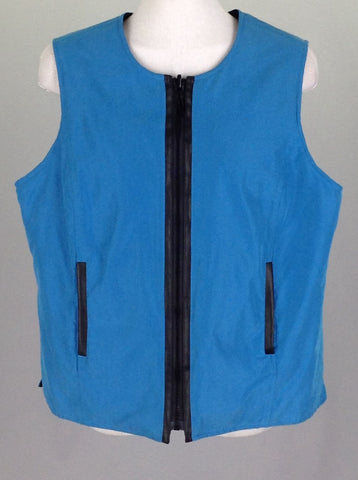 Blue Plain Vest Coat, Size: Medium