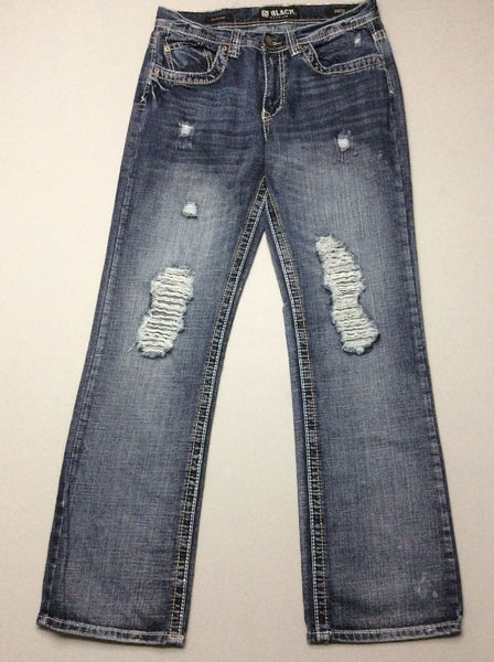 Blue Plain Distressed Boot Cut Jeans, Size: 30/32 R
