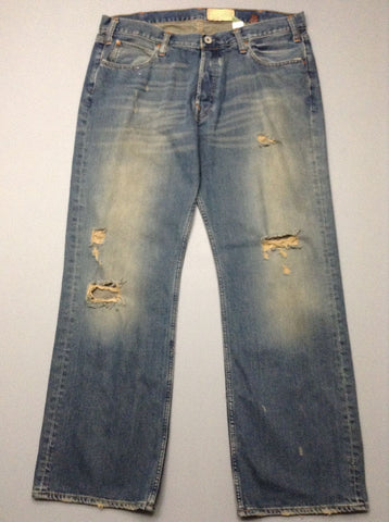 Blue Plain Distressed Boot Cut Jeans, Size: 36/32 R