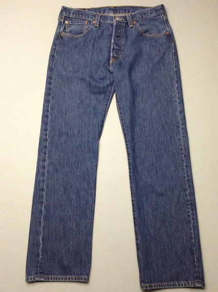 Blue Plain Medium Regular Jeans, Size: 34/32 R
