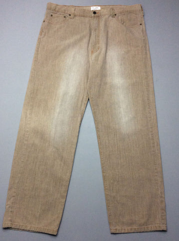 Beige Plain Colored Regular Jeans, Size: 38/32 R