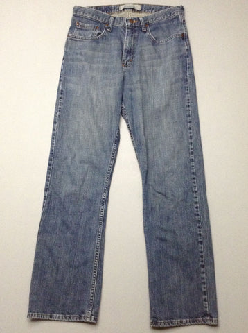 Blue Plain Medium Boot Cut Jeans, Size: 30/32 R