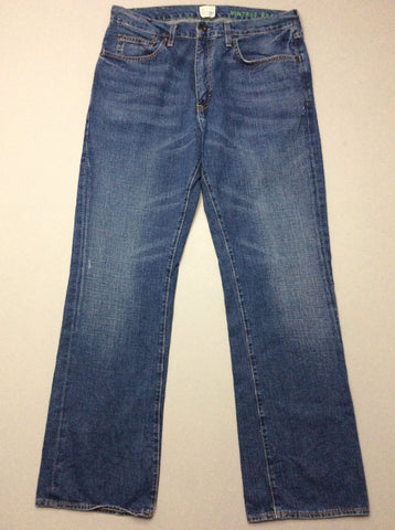 Blue Plain Medium Boot Cut Jeans, Size: 33/32 R