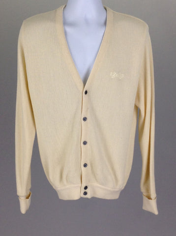 Yellow Plain V-Neck Cardigan Sweater, Size: Medium