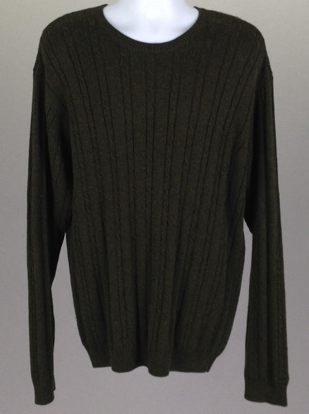 Green Pattern Regular Knit Sweater, Size: Large
