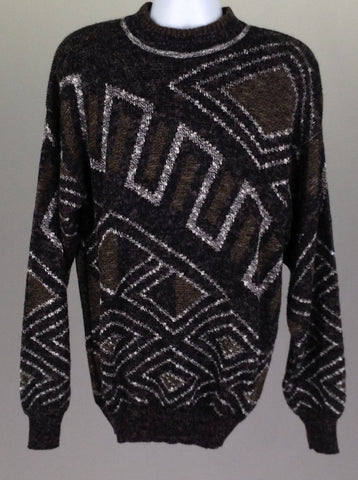 Black Pattern Regular Knit Sweater, Size: Medium