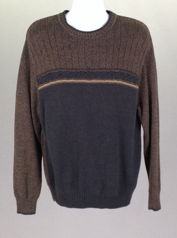 Gray Pattern Regular Knit Sweater, Size: X-Large
