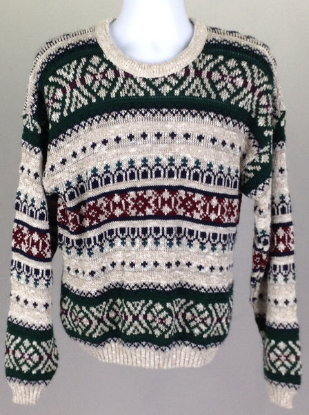Multicolor Pattern Regular Knit Sweater, Size: Large