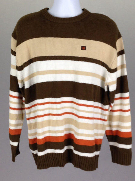 Multicolor Striped Regular Regular Sweater, Size: Large