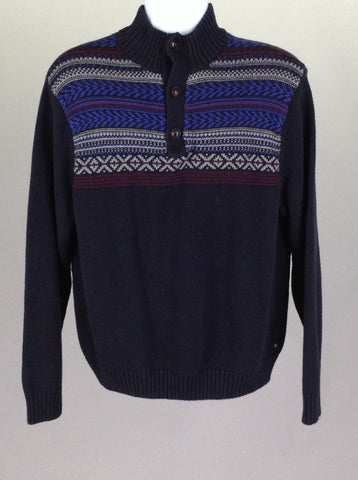 Blue Striped Regular Knit Sweater, Size: Large