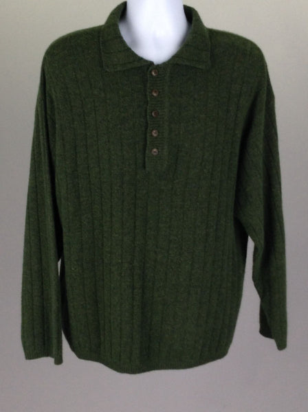 Green Striped Regular Knit Sweater, Size: Large