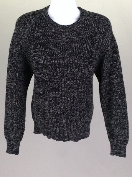 Black Plain Regular Knit Sweater, Size: Large