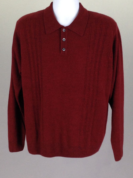 Red Plain Regular Regular Sweater, Size: Large