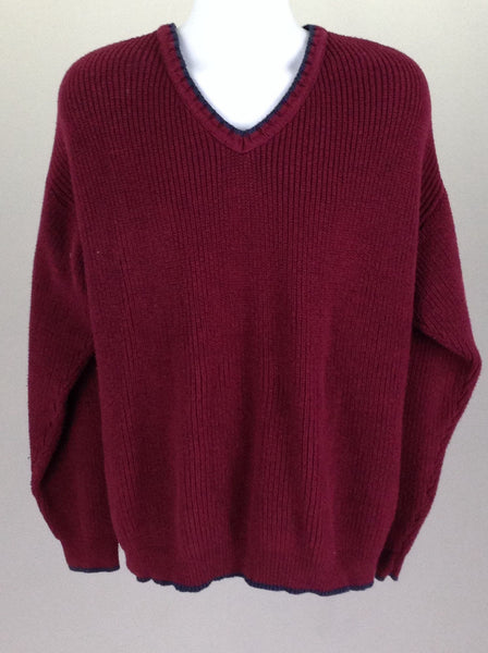 Red Plain V-Neck Knit Sweater, Size: Large