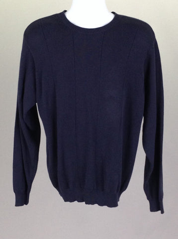 Blue Plain Regular Knit Sweater, Size: Medium