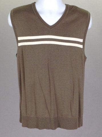 Brown Striped V-Neck Vest Sweater, Size: Medium