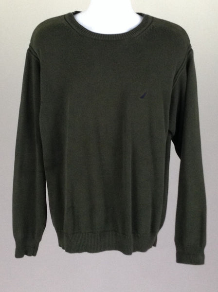 Green Plain Scoop Neck Knit Sweater, Size: X-Large