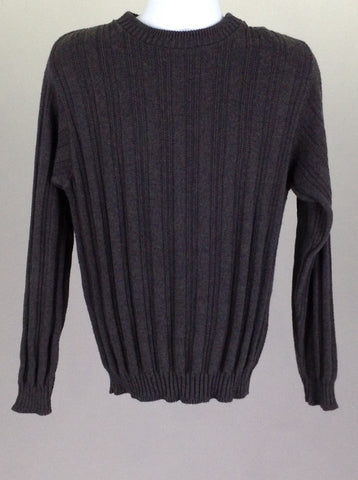 Gray Pattern Regular Knit Sweater, Size: Small