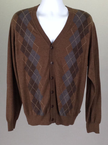 Brown Pattern V-Neck Cardigan Sweater, Size: Large