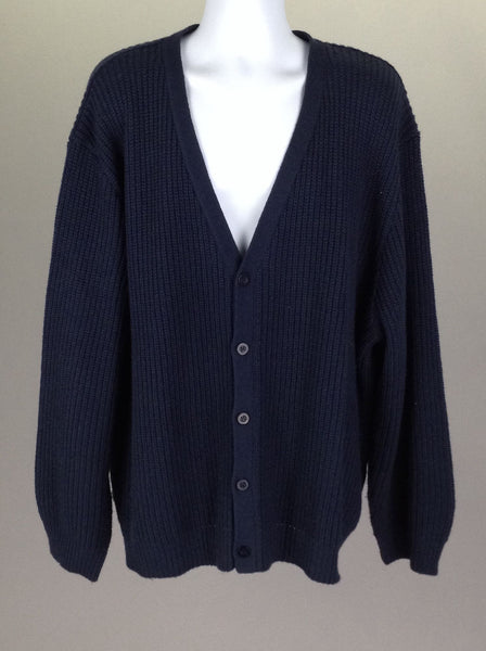 Blue Plain V-Neck Knit Sweater, Size: 4 R