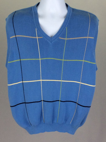 Blue Pattern V-Neck Vest Sweater, Size: Large