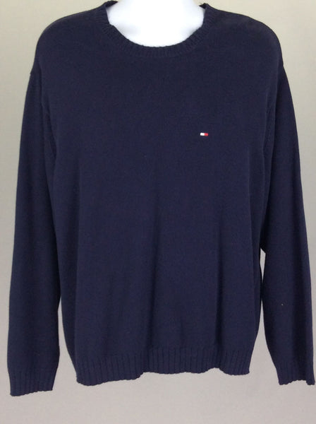 Blue Plain Scoop Neck Knit Sweater, Size: X-Large