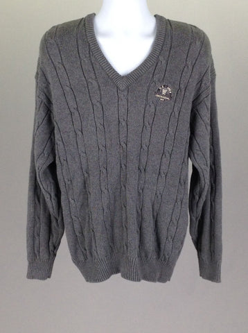 Gray Pattern V-Neck Vest Sweater, Size: Large