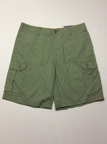 Green Plain Cargo Shorts, Size: 36.0