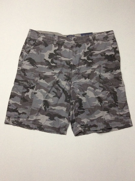 Gray Pattern Flat Front Cargo Shorts, Size: 40.0