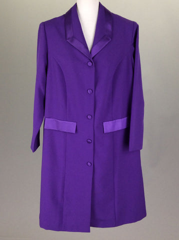 Purple Plain Traditional Coat, Size: 14 R