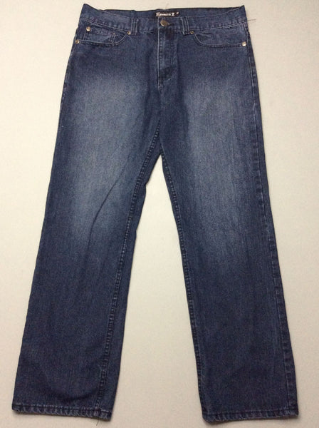 Blue Plain Dark Regular Jeans, Size: 36/32 R