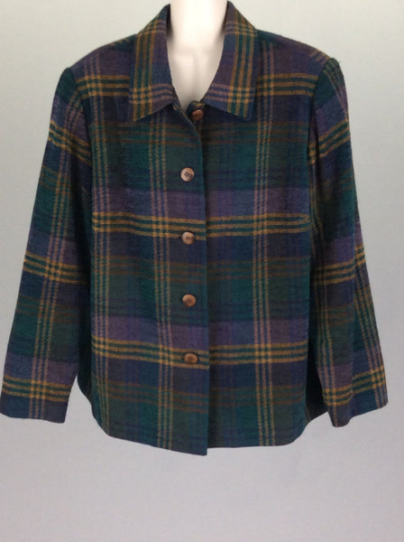Multicolor Plaid Traditional Coat, Size: 20 R