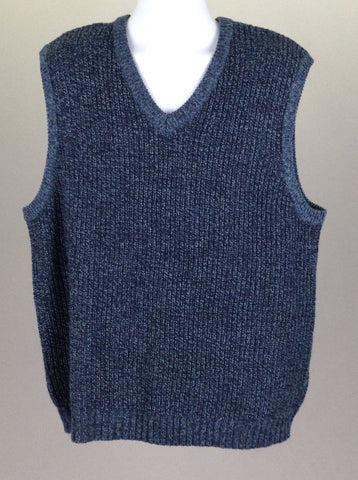 Blue Plain V-Neck Vest Sweater, Size: 2X-Large