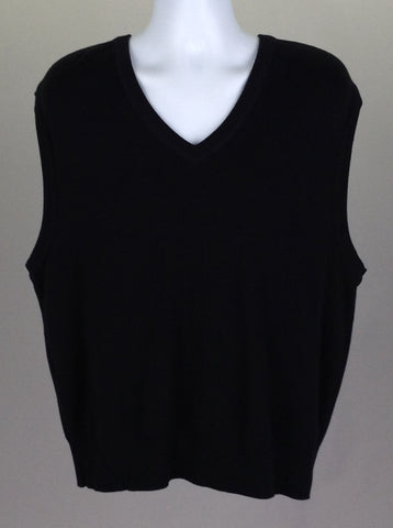 Black Plain V-Neck Vest Sweater, Size: X-Large