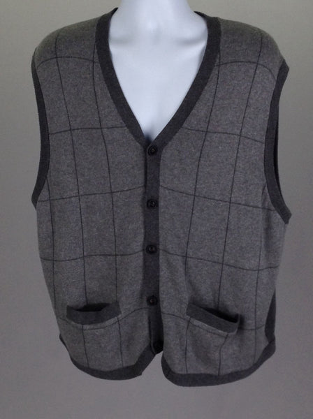Gray Pattern V-Neck Vest Sweater, Size: 2X-Large