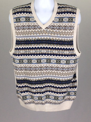 Multicolor Pattern V-Neck Vest Sweater, Size: X-Large