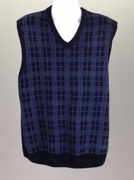 Blue Pattern V-Neck Vest Sweater, Size: 2X-Large
