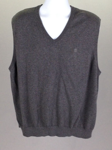 Gray Plain V-Neck Vest Sweater, Size: 2X-Large