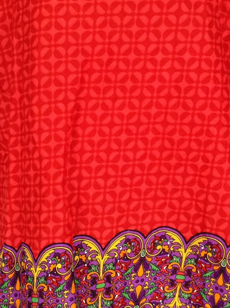 Red Bright-Vibrant Traditional Blouse, Size: X-Large