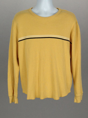 Yellow Bright-Vibrant Scoop Neck Knit Sweater, Size: Large