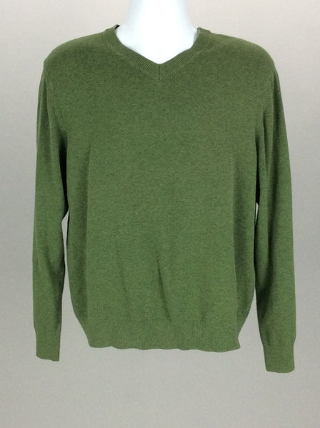 Green Plain V-Neck Knit Sweater, Size: Large