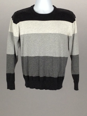 Gray Pattern Scoop Neck Regular Sweater, Size: Medium
