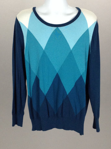 Blue Pattern Scoop Neck Regular Sweater, Size: 2 R