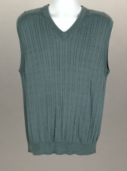 Blue Cable Knit V-Neck Vest Sweater, Size: Large